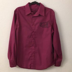 Cowgirl Tuff Pink button up Cross print shirt sz L